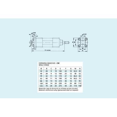 Male hinge Cylinders ISO 15552 Bore 125
