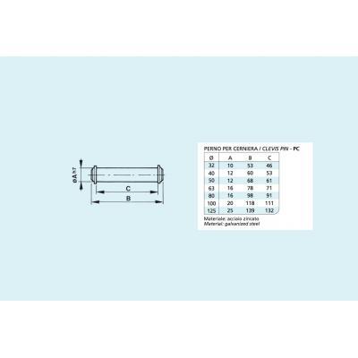 Perno per cerniera per cilindro ISO 15552 Alesaggio 63