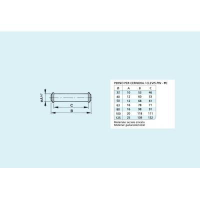 Perno per cerniera per cilindro ISO  15552 Alesaggio 125