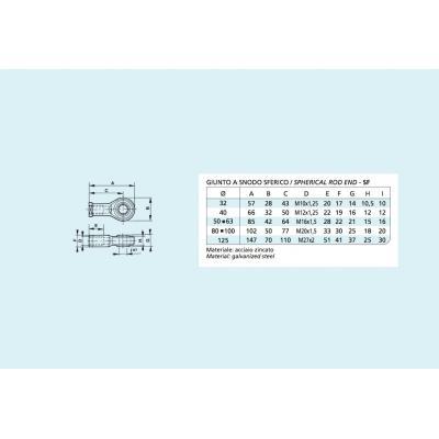 Giunto a snodo sferico per cilindro ISO 15552 Alesaggio 125