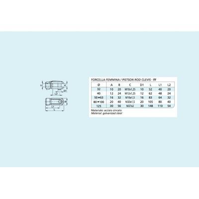 Forcella femmina per cilindro ISO 15552 Alesaggio 125