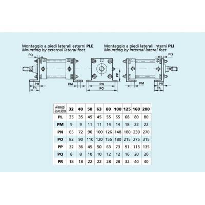 Internal lateral feet Cylinders CNOMO Bore 50