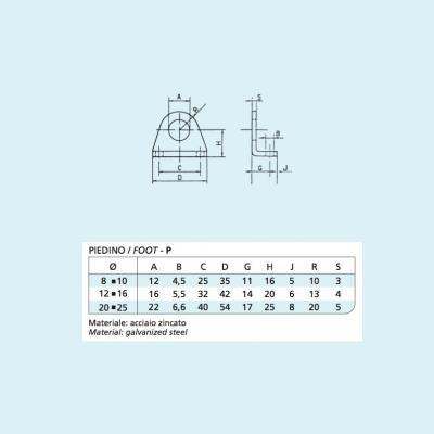 Coppia di piedini per minicilindro ISO 6432    Alesaggio 25