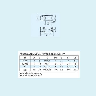 Forcella femmina per minicilindro ISO 6432  Alesaggio 8