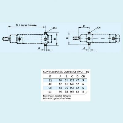 Pin cylinders CP96 (coppia) Bore 63