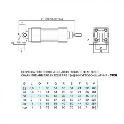 Cerniera posteriore a squadro in acciaio inox per cilindro 15552 inox Alesaggio 80