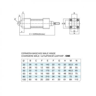Cerniera maschio in acciaio inox per cilindro 15552 inox Alesaggio 80