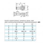 Giunto a snodo sferico in acciaio inox M10x1,25 per cilindro 6432 inox