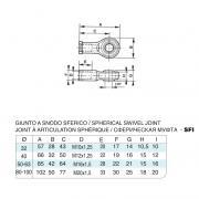 Giunto a snodo sferico in acciaio inox M10x1,25 per cilindro 15552 inox