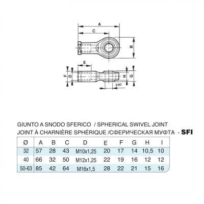Giunto a snodo sferico in acciaio inox M10x1,25 per cilindro CP96 inox