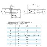 Forcella femmina in acciaio inox M6x1 per cilindro 6432 inox