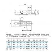 Forcella femmina in acciaio inox M16x1,5 per cilindro 6431 inox