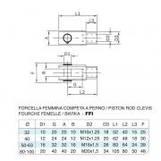 Forcella femmina in acciaio inox M20x1,5 per cilindro 6431 inox