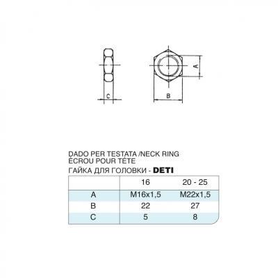 Dado per testata in acciaio inox M16x1,5 per cilindro 6432 inox
