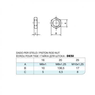 Dado per stelo in acciaio inox M6x1 per cilindro 6432 inox