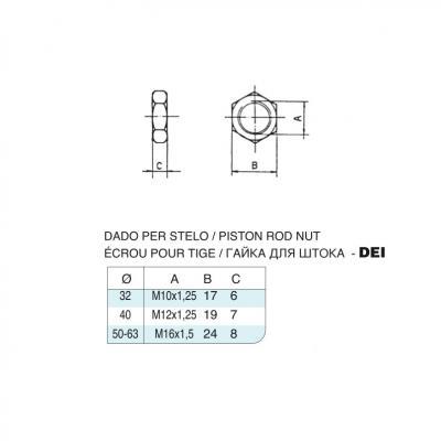 Dado per stelo in acciaio inox M12x1,25 per cilindro CP96 inox