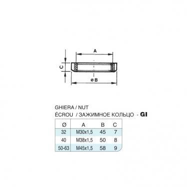 Ghiera in acciaio inox M30x1,5 per cilindro CP96 inox