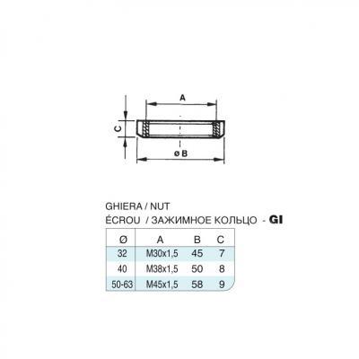 Ghiera in acciaio inox M38x1,5 per cilindro CP96 inox