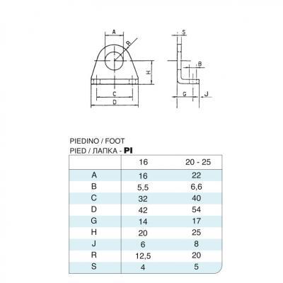 Coppia di piedini in acciaio inox Alesaggio 20 per cilindro 6432 inox