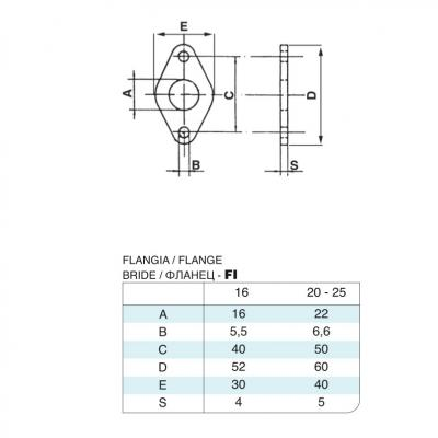 Flange stainless steel Bore 20 cylinders 6432 stainless steel