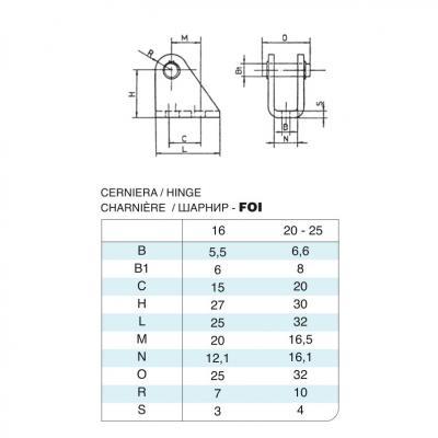 Cerniera in acciaio inox Alesaggio 16 per cilindro 6432 inox