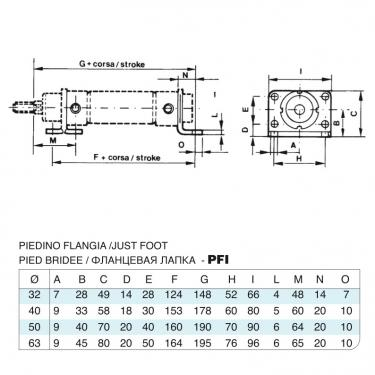 Foot Flange (couple) stainless steel Bore 50 cylinders CP96 stainless steel