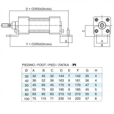 Coppia di piedini in acciaio inox Alesaggio 50 per cilindro 6431 ora 15552 inox