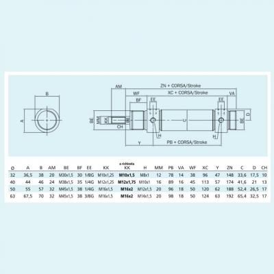 Cylinders double acting magnetic piston CP96 Bore 32 Stroke 200