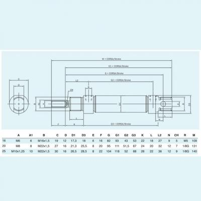 Cylinders stainless steel ISO 6432 chamfered  double acting Bore 20 Stroke 10
