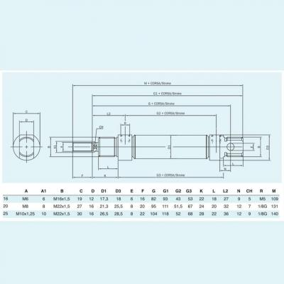 Cylinders stainless steel ISO 6432 chamfered  double acting Bore 20 Stroke 320