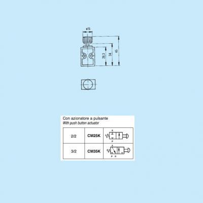 Comando pneumatico in subminiatura 2/2 vie in M5 con azionatore a pulsante