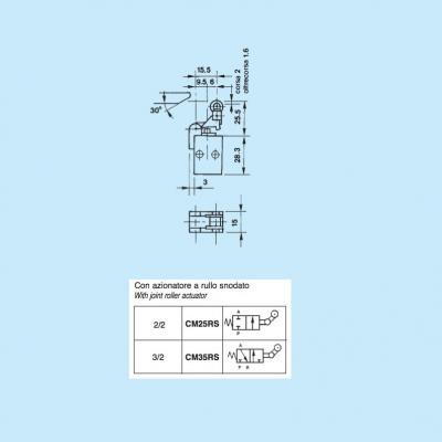 Comando pneumatico in subminiatura 2/2 vie in M5 con azionatore rullo snodato