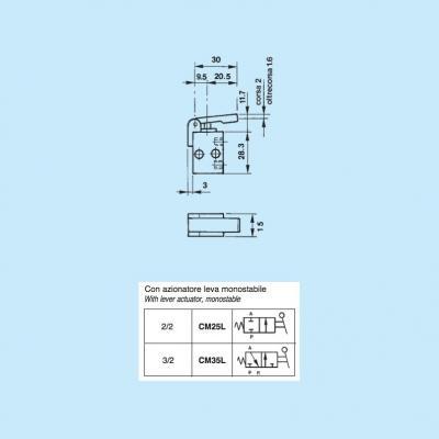 Comando pneumatico in subminiatura 2/2 vie in M5 con azionatore leva monostab.