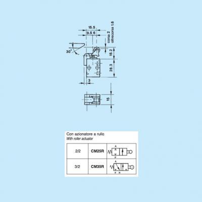 Comando pneumatico in subminiatura 2/2 vie in M5 con azionatore a rullo