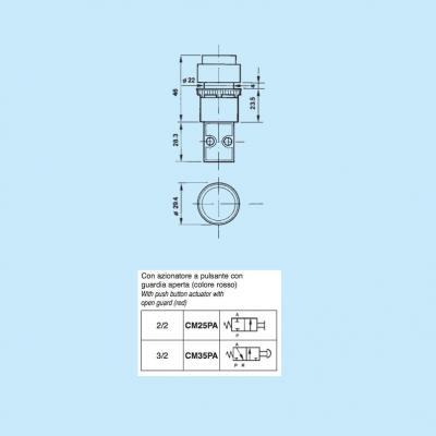 Comando pneumatico in subminiatura 2/2 vie in M5 con azionatore pulsante rosso