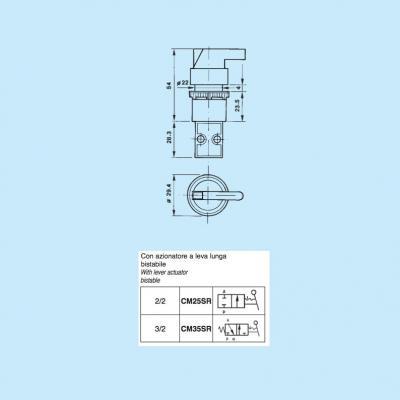 Comando pneumatico in subminiatura 2/2 vie in M5 con azionatore leva bistabile