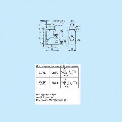 Comando pneumatico in miniatura 3/2 vie 1/8G NC a tasto