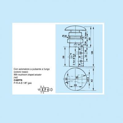 Pneumatic controls with slide spool 4/2 way 1/8G con azionatore a fungo rosso