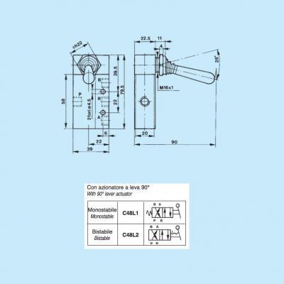 Pneumatic controls with slide spool 4/2 way 1/8G con azionatore a leva 90° bistabile