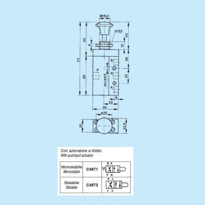Pneumatic controls with slide spool 4/2 way 1/8G con azionatore a tiretto monostabile