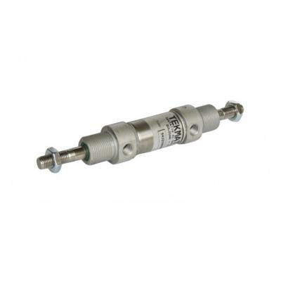 Minicilindro stelo passante doppio eff. ammort. ISO 6432 Ales 20 Corsa 25