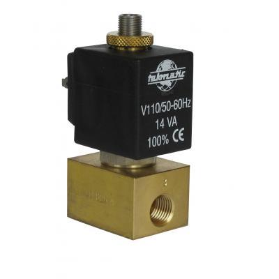 Elettrovalvola 2/2 vie NA 1/8-1/4G passaggio 2 mm completa di bobina B3